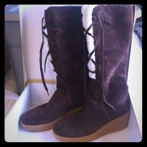 Michael Kors Shearling Lace Up Boot